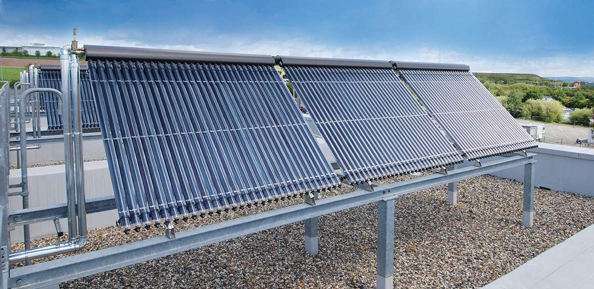 Пример за монтаж на вакуумни слънчеви колектори Виссманн