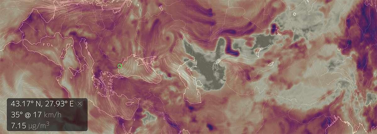 Концентрация диоксида серы в нижних слоях атмосферы