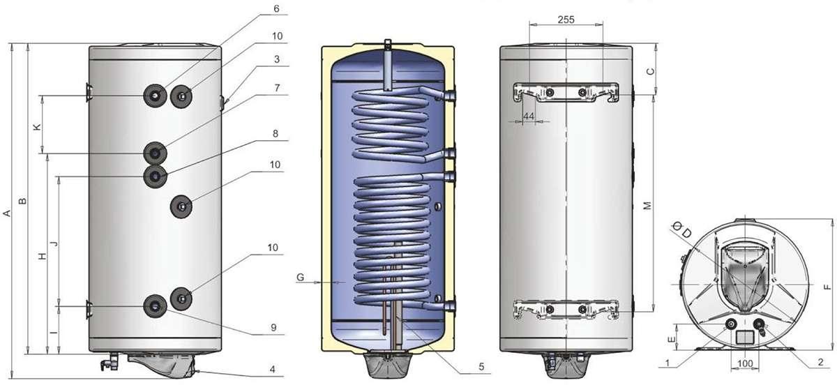 Бойлеры ELDOM Green Line с двумя спиралями - размеры